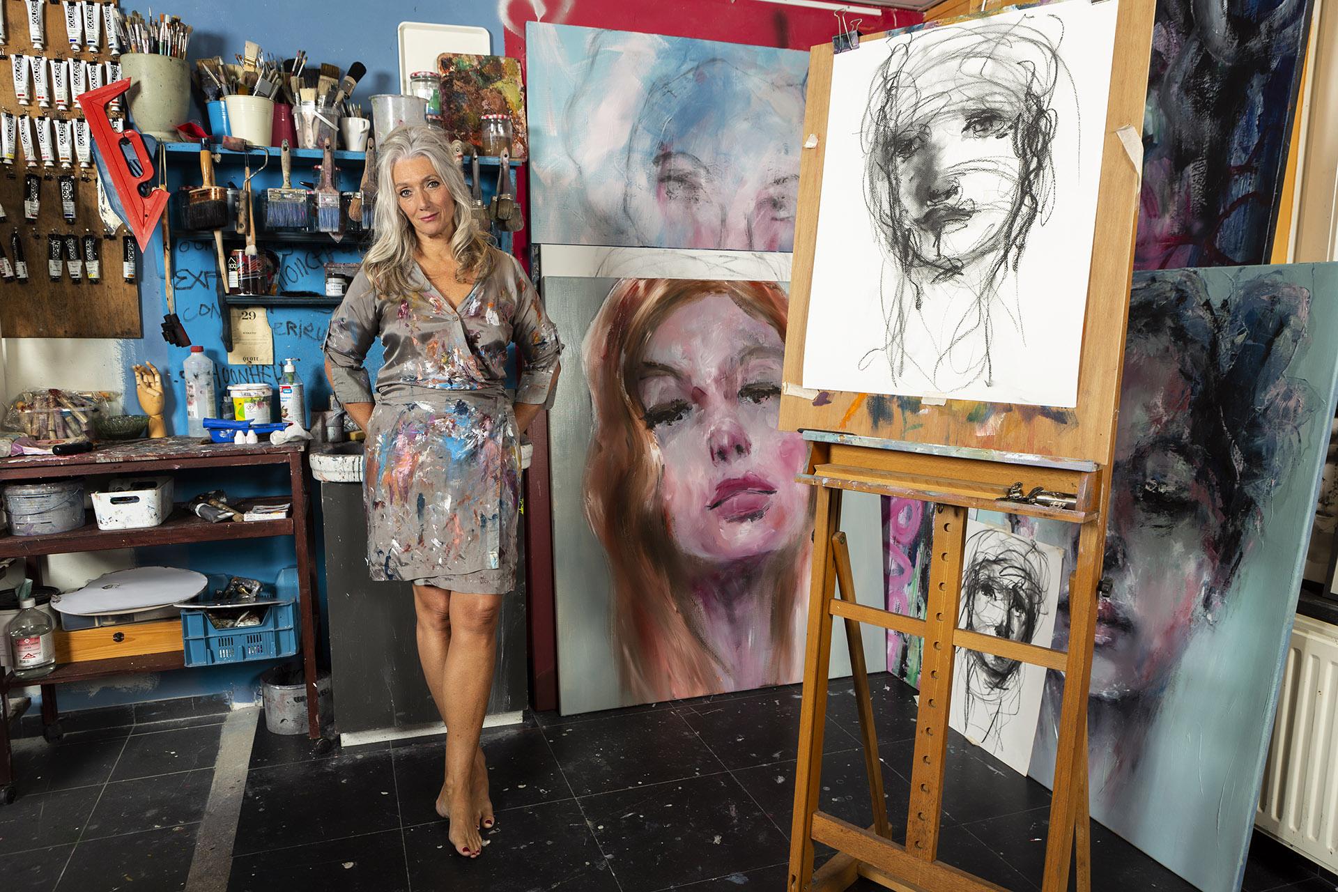 Vijfdaagse masterclasses intuïtief portret schilderen workshop online cursus programma